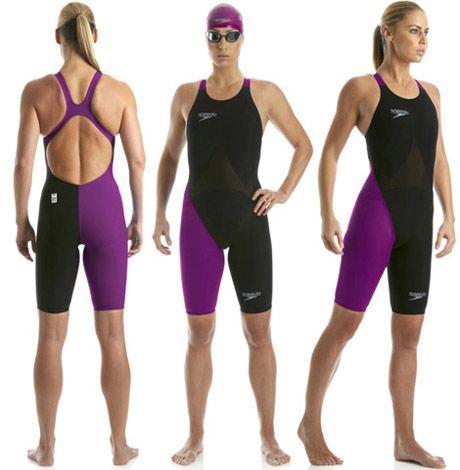 Speedo LZR Elite Black & Purple Kneelength