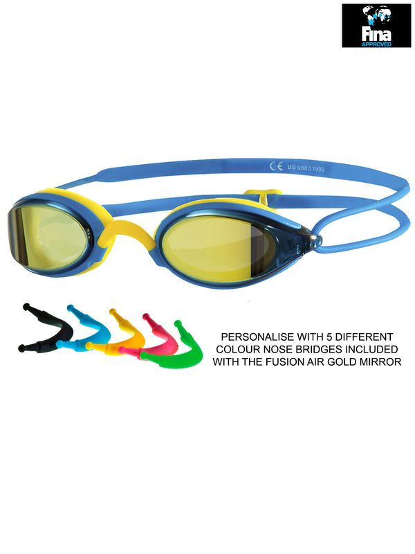 Zoggs Fusion Air Blue & Yellow Mirrored Lens Goggles 4