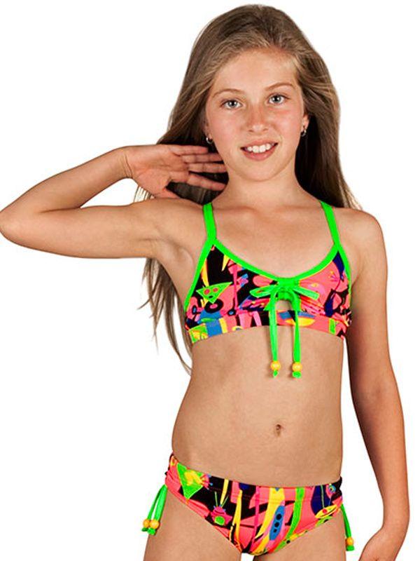 Girls Funkita Pink Stig Sports Bikini