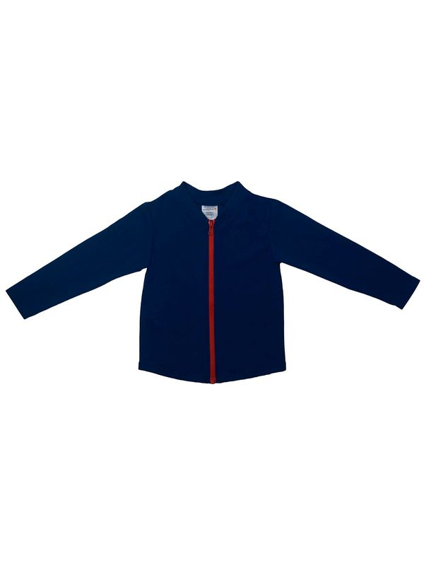 Escargot Zip Up Blue & Red Long Sleeve Girls Sun Top